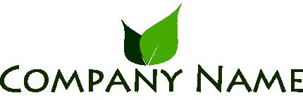 葉っぱのイラストを使った企業ロゴ