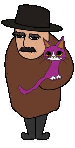猫を持ったおじさんのイラスト
