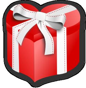 ハート型のプレゼント箱のイラスト
