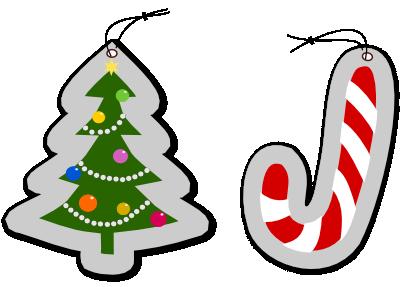 クリスマスツリーとステッキのイラスト