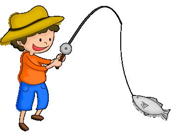 釣りをする少年のイラスト