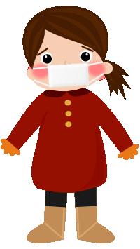 風邪を引いた女の子のイラスト