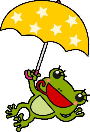 傘をさしたカエルのイラスト