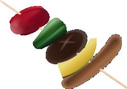 バーベキューの串のイラスト