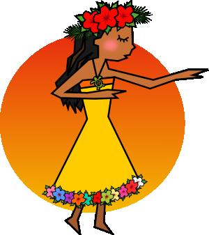フラダンスを踊る女性のイラスト