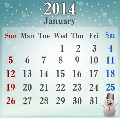 2014年1月のカレンダーのイラスト