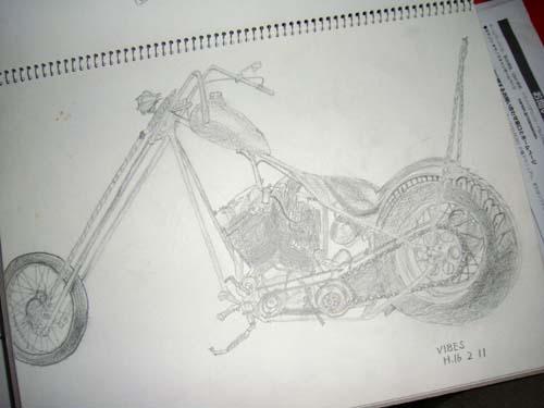 アメリカンバイクのスケッチ