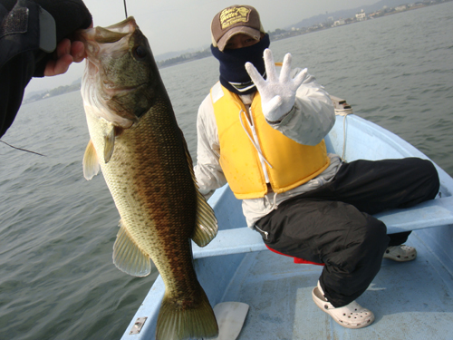 琵琶湖でバス釣り
